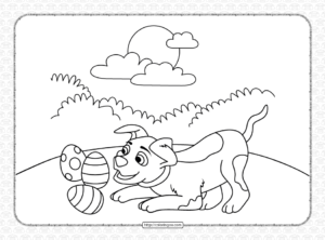 Printable Dog Playing with Easter Eggs Coloring Page