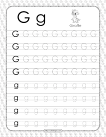Printable Dotted Letter G Tracing Pdf Worksheet
