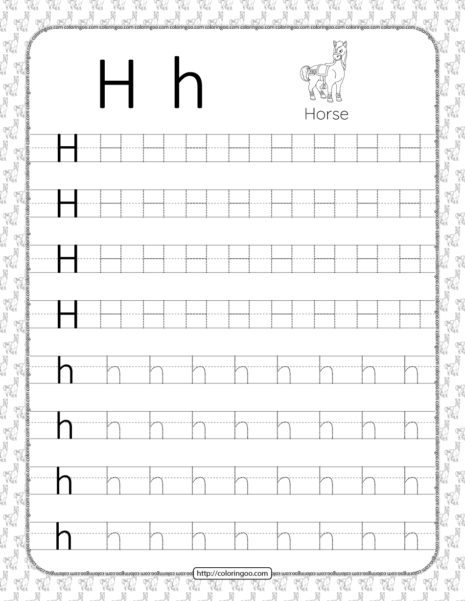 Printable Dotted Letter H Tracing Pdf Worksheet