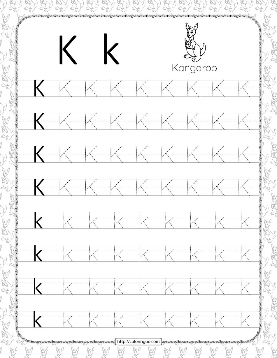 Printable Dotted Letter K Tracing Pdf Worksheet
