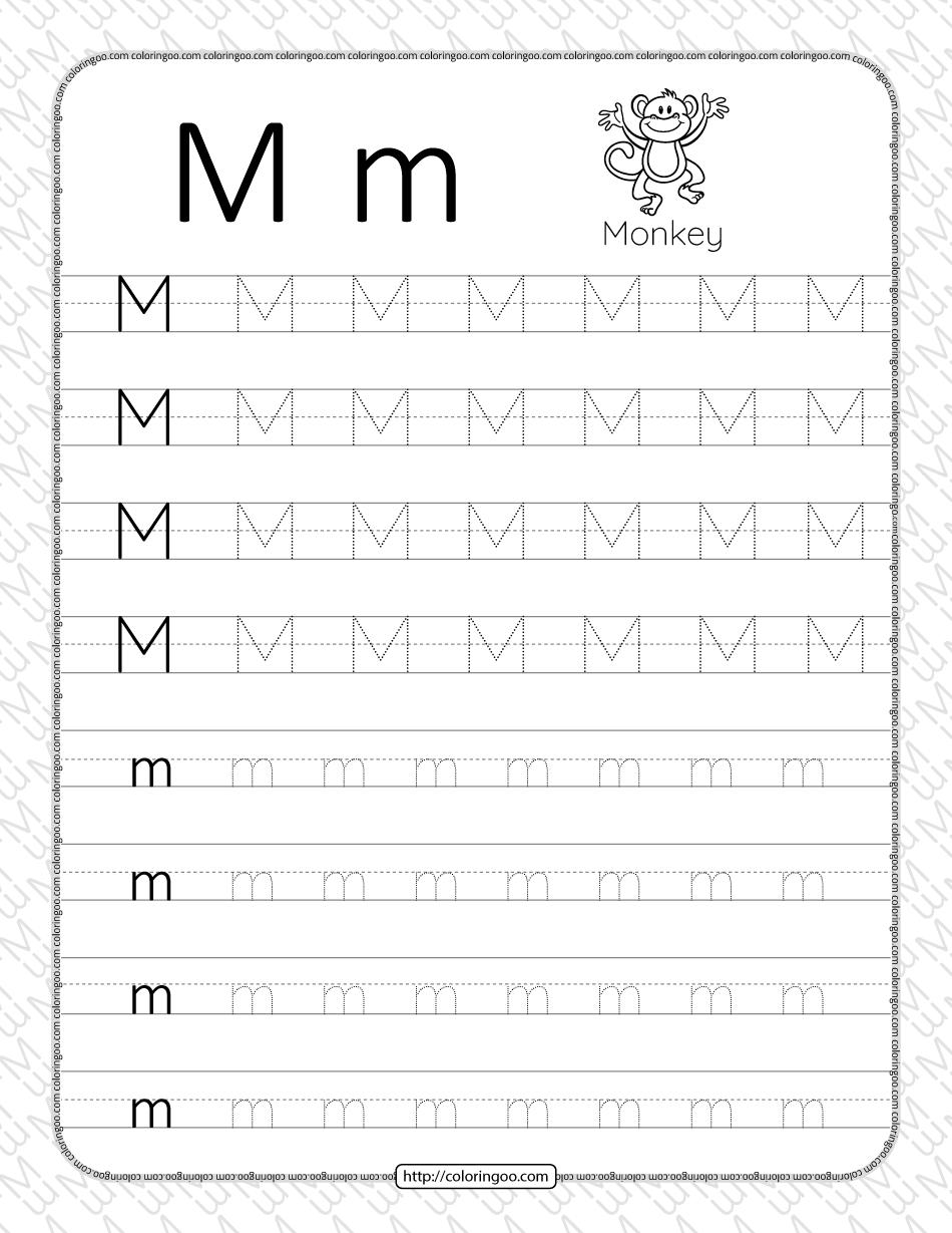 Printable Dotted Letter M Tracing Pdf Worksheet