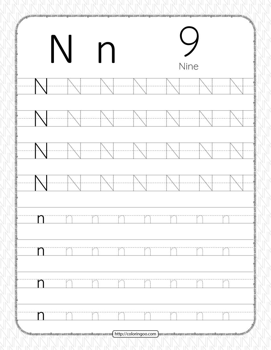 Printable Dotted Letter N Tracing Pdf Worksheet