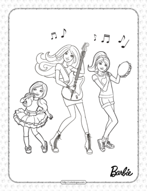 Printable Enjoy with Barbie Coloring Page