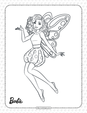 Printable Fairy Princess Barbie Coloring Page