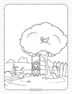 Printable Girl on a Swing Coloring Page