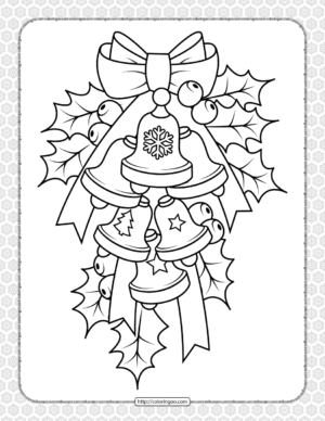 Printable Christmas Bell Coloring Page