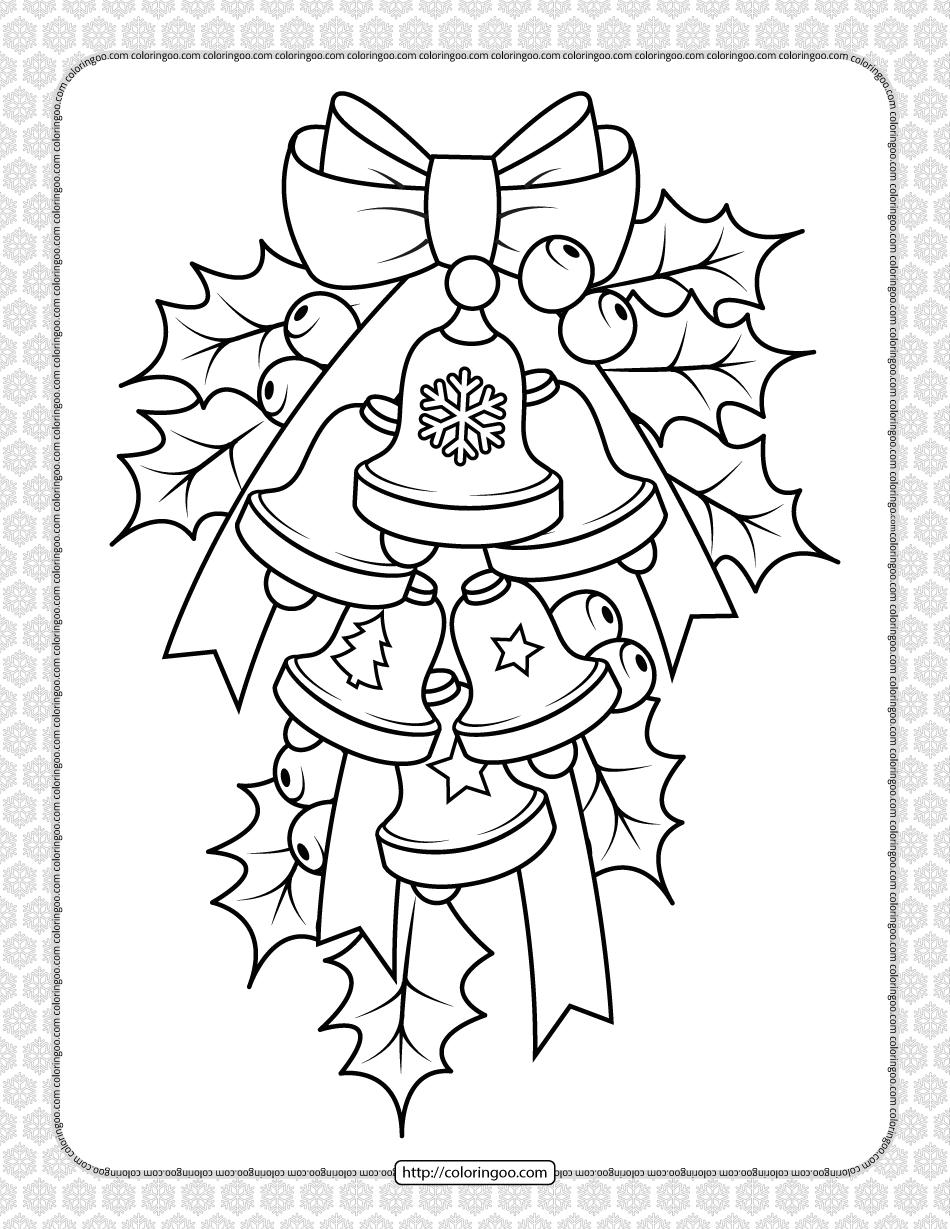 Printable Christmas Bell Coloring Page