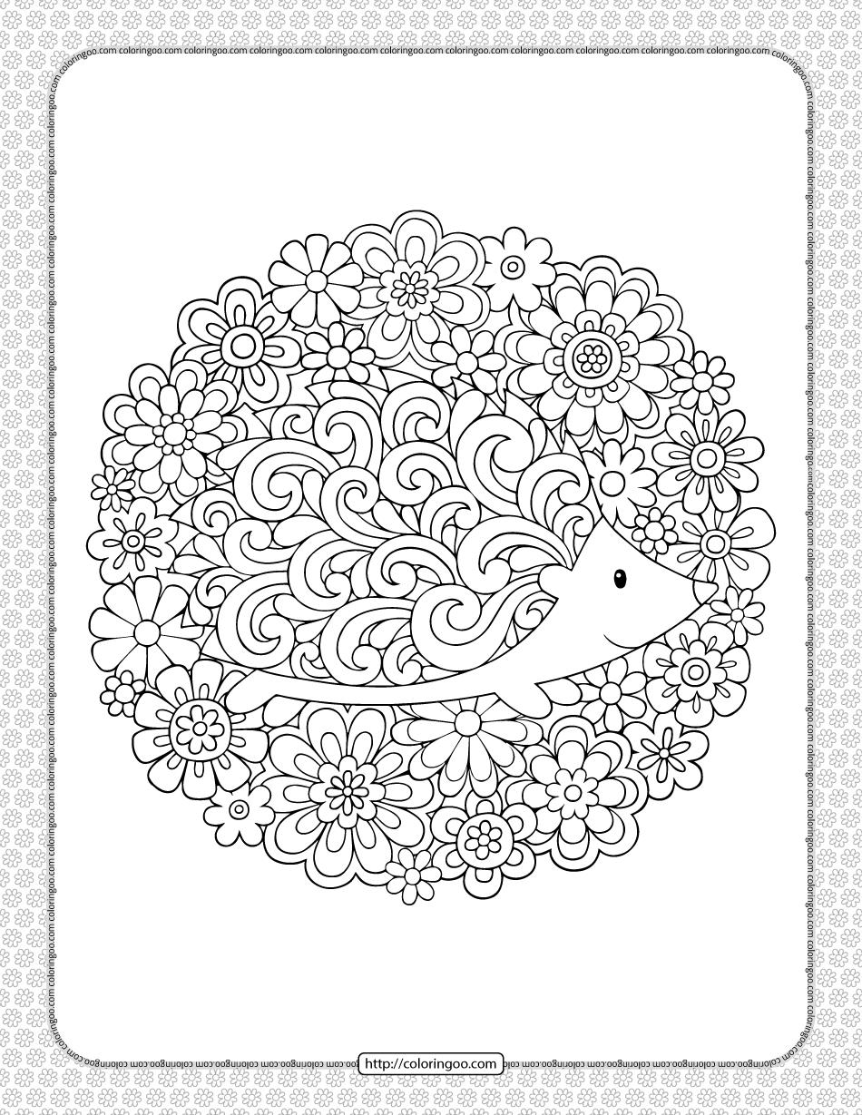 Printable Hedgehog in Flowers Coloring Page