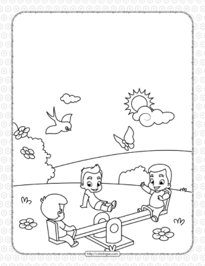 Printable Kids Play at Seesaw Coloring Page
