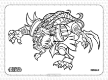 Printable League of Legends Rengar Coloring Page