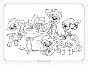 Printable Paw Patrol Christmas Gifts Coloring Page