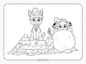 Printable Paw Patrol Holiday Coloring Page