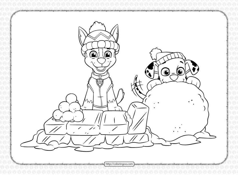 Printable Paw Patrol Holiday Coloring Page