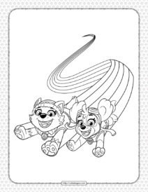 Printable Paw Patrol Skye and Everest Coloring Page