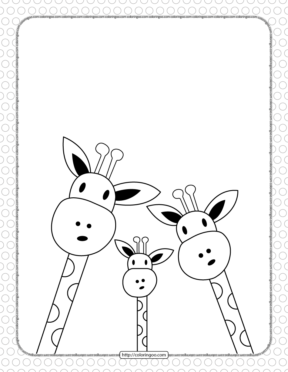 Printable Three Giraffe Coloring Page for Kids