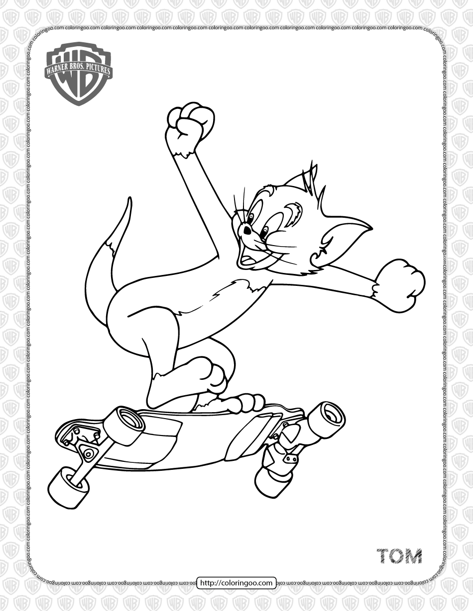 Printable Tom is Skateboarding Coloring Page