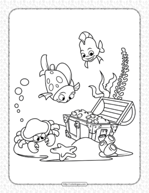Printable Treasure in the See Coloring Page