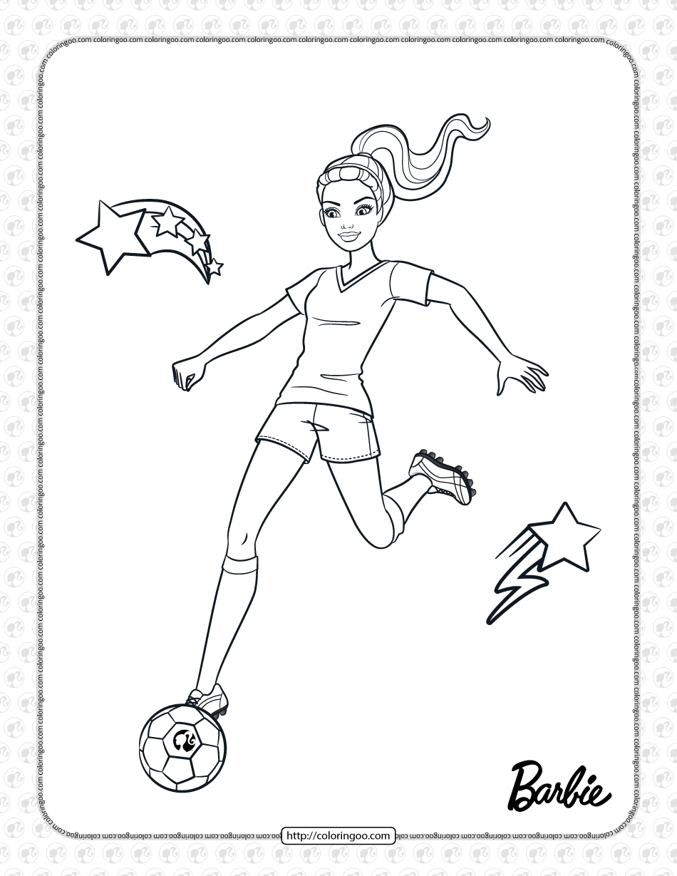 Printables Barbie Soccer Player Coloring Page