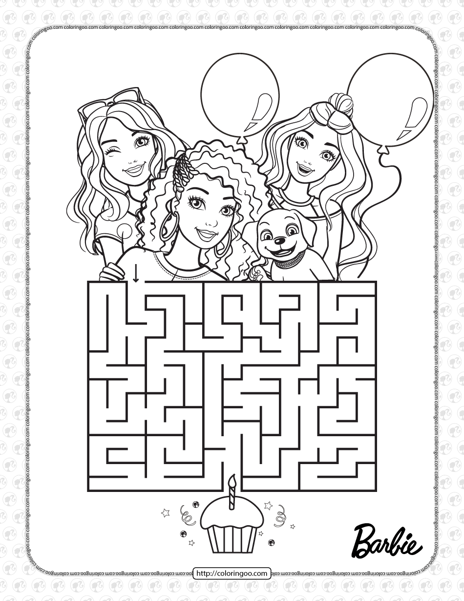 Printables Barbie's Birthday Maze Coloring Page