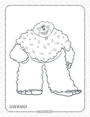 Printables Smallfoot Gwangi Pdf Coloring Page
