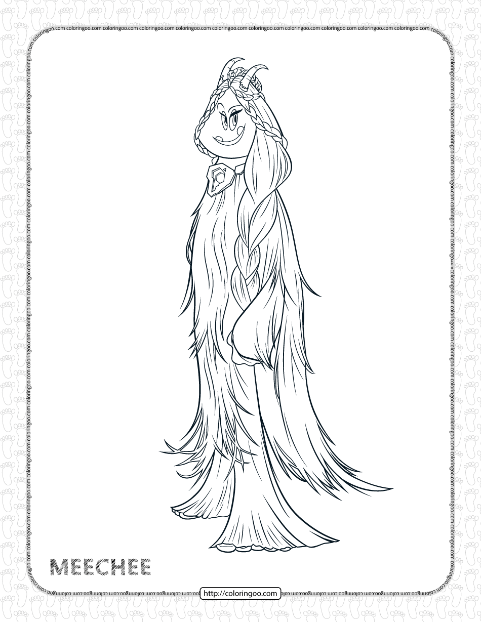 Printables Smallfoot Meechee Pdf Coloring Page