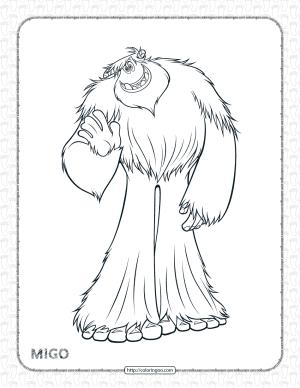 Printables Smallfoot Migo Pdf Coloring Page