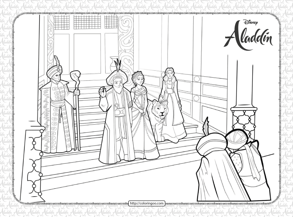 The Sultan and Princess Jasmine Coloring Page