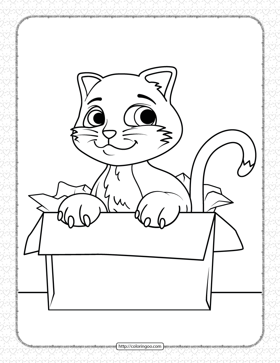 Free Printable Cat in the Box Coloring Page