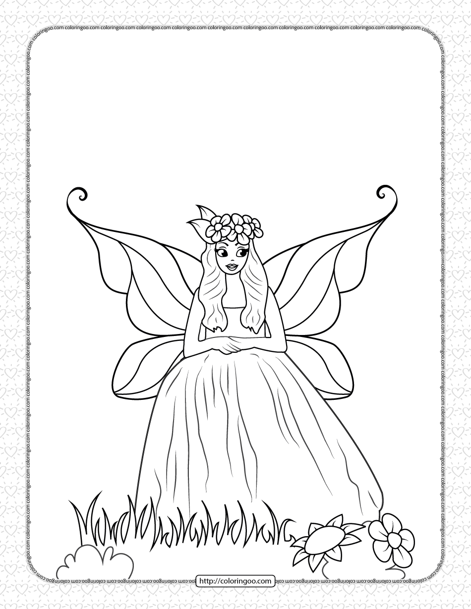 Free Printable Fairy Coloring Page for Girls