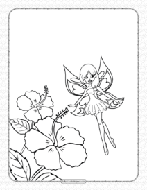 Free Printable Fairy with Flowers Coloring Page