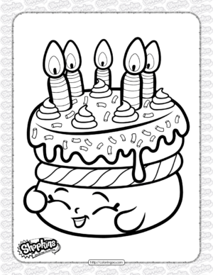 Free Printable Shopkins Cake Wishes Coloring Page