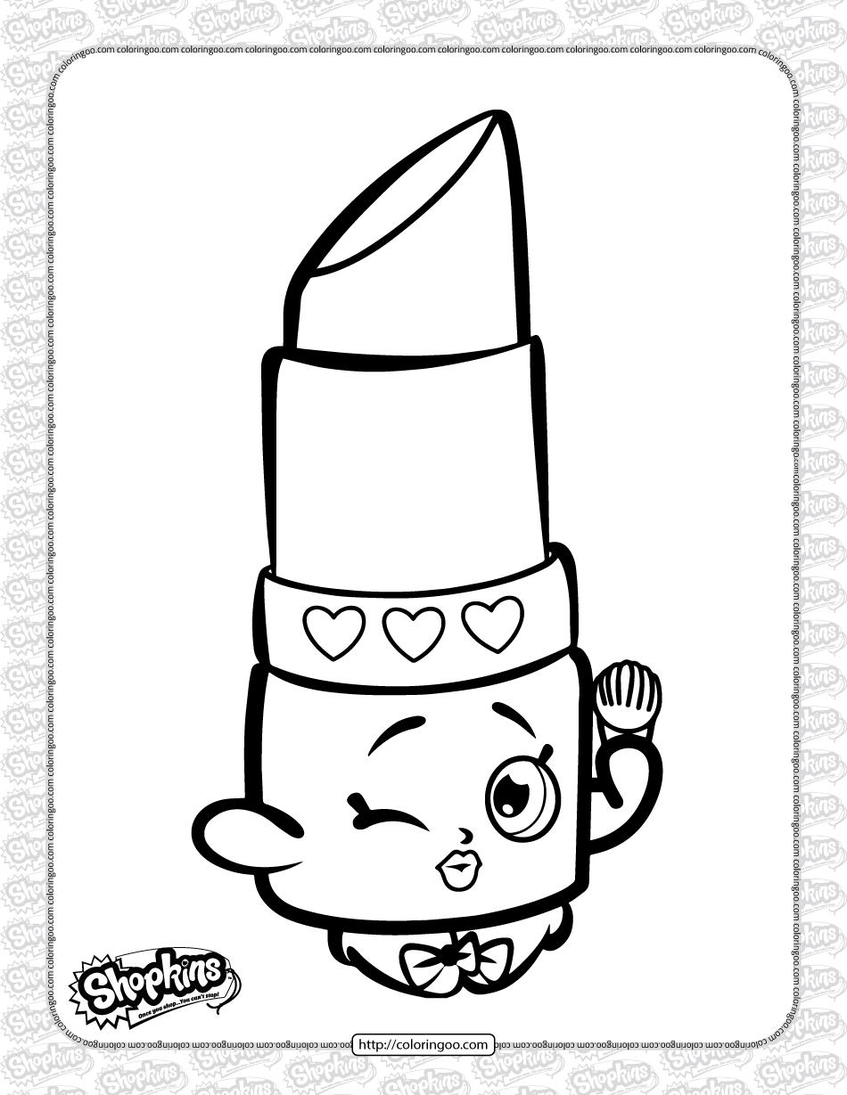 Free Printable Shopkins Lippy Lips Coloring Page