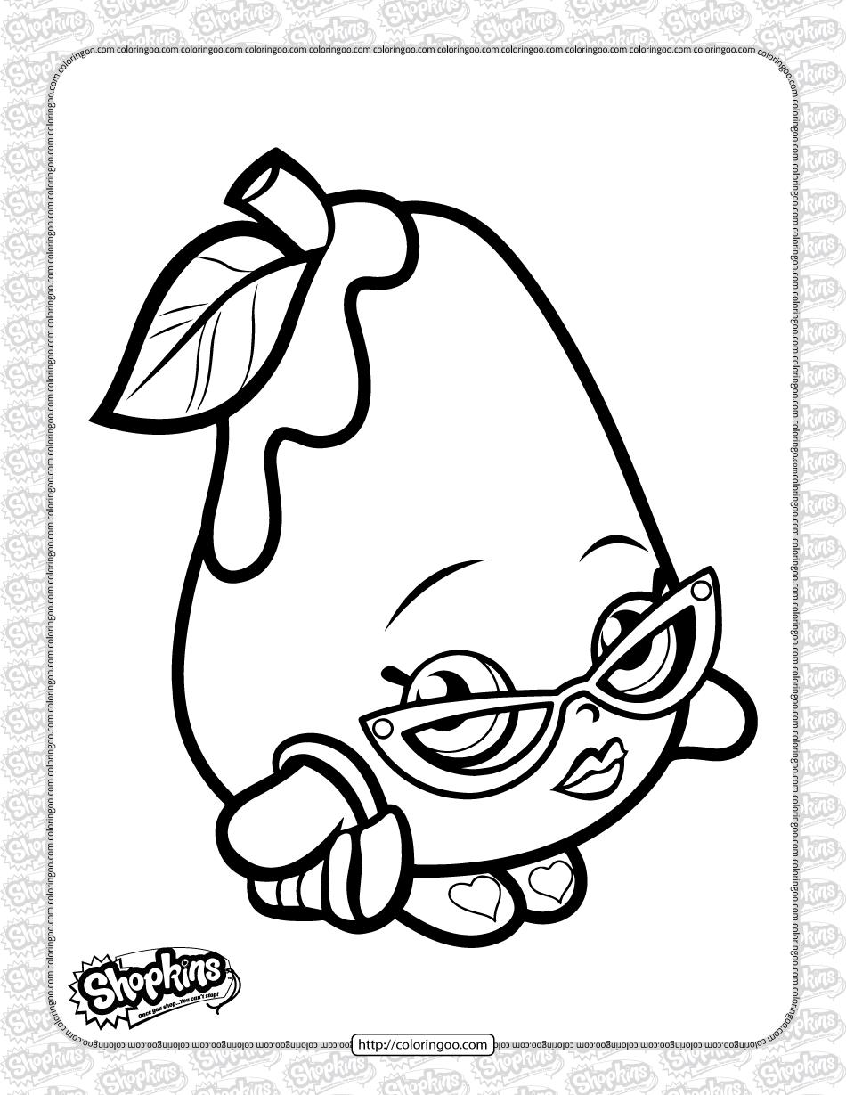 Free Printable Shopkins Posh Pear Coloring Page