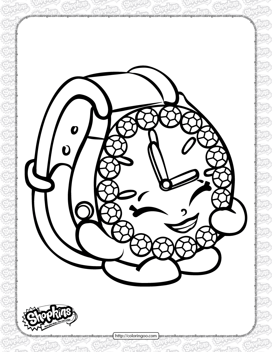 Free Printable Shopkins Ticky Tock Coloring Page