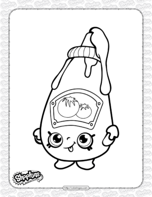 Free Printable Shopkins Tommy Ketchup Coloring Page