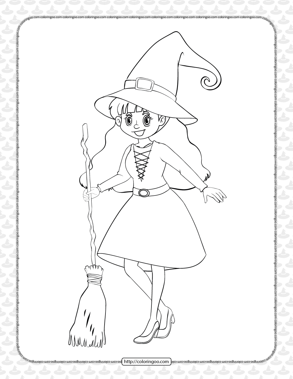Free Printable Witch Coloring Page for Kids