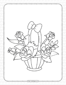 Printable a Basket of Flowers Coloring Page