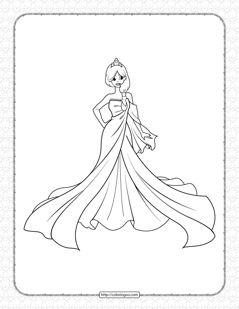 Printable A Beautiful Princess Coloring Page
