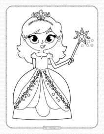Printable a Princess with Magic Stick Coloring Page
