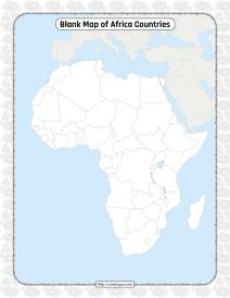 Printable Blank Map of Africa Countries Worksheet