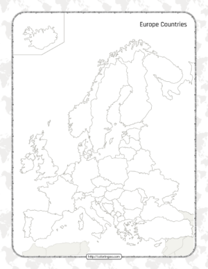 Printable Blank Map of the Europe Countries Worksheet