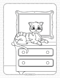 Printable Cat on The Closet Coloring Page