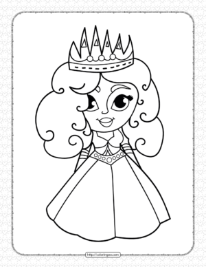 Printable Cute Princess Coloring Pages for Girls