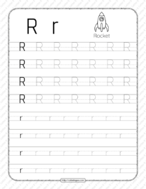 Printable Dotted Letter R Tracing Pdf Worksheet