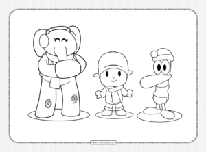 Printable Elly Pocoyo and Pato Coloring Page