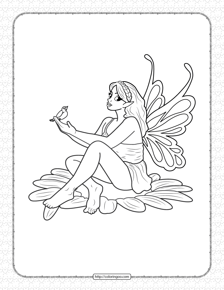Printable Fairy on Flower Coloring Page