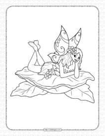 Printable Fairy on Leaf Coloring Page