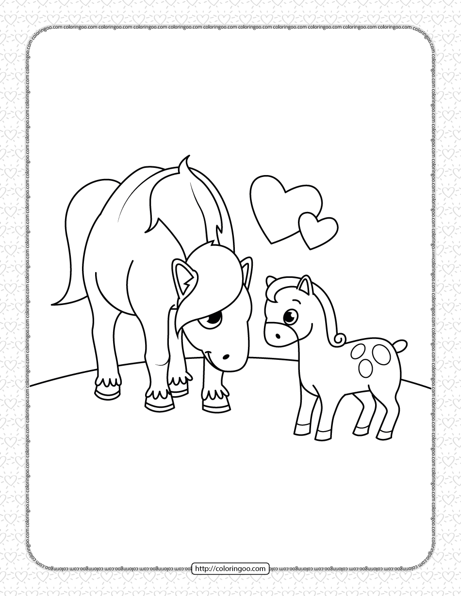 Printable Horse and Foal Coloring Page
