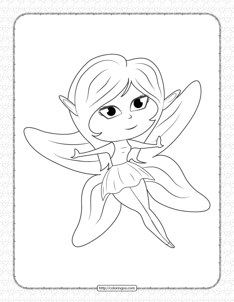 Printable Long-eared Fairy Coloring Page