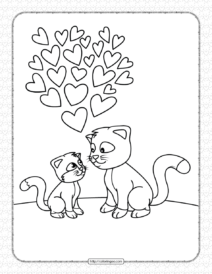 Printable Love of Cats Coloring Page